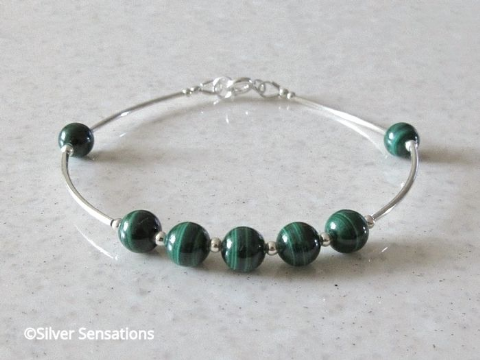 Natural Green Malachite Bracelet With  Sterling Silver Curved Tubes